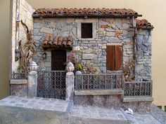 beautiful miniature village cottage display
