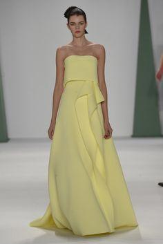 Love the soft yellow. Carolina Herrera RTW Spring 2015 #fashion #style #womens