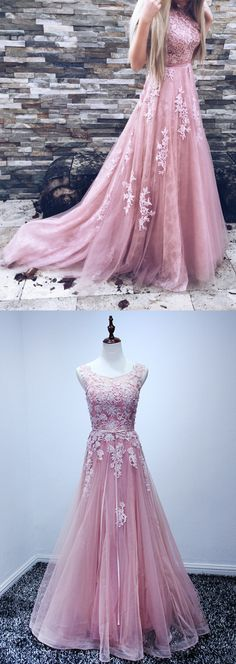 prom dresses 2017, pink party dresses with appliques,pink lace-up evening gowns, cheap pink prom dresses , vestidos