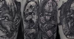 Los siniestros tatuajes 'blackwork' de Róbert Borbás