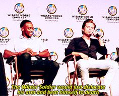 Anthony Mackie and Sebastian Stan at Wizard World Comic Con 2014 GIF