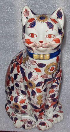 ANTIQUE JAPANESE IMARI PORCELAIN FIGURE OF CAT LATE EDO PERIOD 1820'S