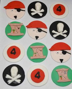 PIrate Fondant Cupcake Cake or Cookie Toppers by iamladycupcake, $19.95