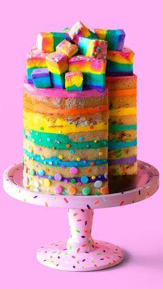Rainbow cake with velvet apple - .-Regenbogenkuchen mit Samtapfel – Rainbow cake with velvet apple – - Cute Desserts, Dessert Recipes, Cake Recipes, Brownie Recipes, Sweet Recipes, Marshmallow Cake, Rainbow Food, Rainbow Desserts, Kids Rainbow