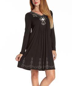 Black Ruched Embroidered V-Neck Dress