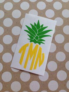 Pineapple Monogram  Monogrammed Pineapple  by MMVinylCreations