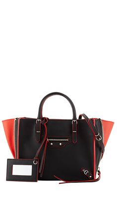 ahhhh my parents just bought me this handbag as one of my 16th bday gifts!!! Balenciaga Papier Mini Leather Tote Bag, Red/Black