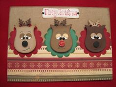 Stampin Up Punch Art Reindeer Owl Punch Christmas Cards To Make, Noel Christmas, Xmas Cards, Holiday Cards, Owl Punch Cards, Winter Cards, Creative Cards, Cute Cards, Homemade Cards