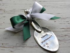Merry Christmas 2014 Spoon ornament - your choice of colors - stars - silver plated - antique - vintage - free shipping within USA