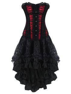 Corset noire et rouge avec dentelle et jupe gothique, robe