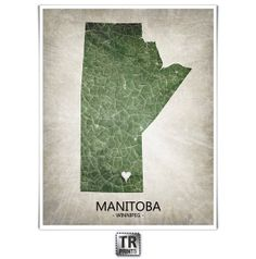 Manitoba Canada Map Print Home Is Where The Heart Is by TRPrints