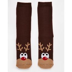 Urban Eccentric Christmas Rudolph Slipper Socks ❤ liked on Polyvore featuring intimates, hosiery, socks, christmas socks and christmas hosiery