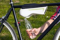 fontus self-filling bottle condenses humid air into drinking water.   However,  what chemicals from the air would be in there  too.