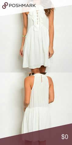 NWT! Just arrived! Absolutely gorgeous! White lace up ruffle dress… off-white. Loose fitting, keyhole back and lined skirt. 😍 Threadzwear Dresses Mini