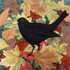 Autumn blackbird Kate Findlay textile artist