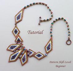 Necklace beading tutorial beadweaving pattern di PeyoteBeadArt