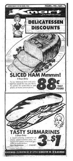 Kmart Deli Ad 1973.  I remember and crave those sandwiches!!!!!
