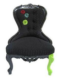Melanie Porter chair, upholstered with #knitting