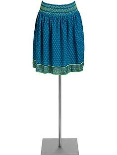 Women's Smocked Printed Skirts | Old Navy $27