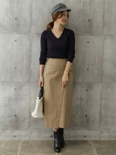 """Easy for beginners ♪ How to make a """"wrap skirt"""" that is easy to wear and move Skirt Outfits, Fall Outfits, Mama Cloth, Korean Fashion, Midi Skirt, Cashmere, How To Make, How To Wear, Normcore"""