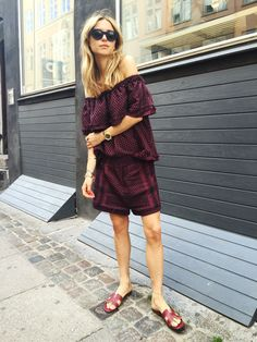 Pernille Teisbaek wears a burgundy and black off-the-shoulder top, matching shorts, red slide sandals, and stacked gold jewelry Stylish Summer Outfits, Fall Fashion Outfits, Autumn Fashion, Fashion 2015, Fashion Spring, Style Fashion, Street Chic, Street Style, Cecilie Copenhagen