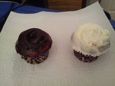 Today's breakfast is cupcakes that my sister made this morning! Yay!  #Delicious #OneIsVanilla #AndTheOtherIsChocolate #LikeMe