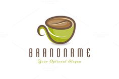 Logo design with concept of stylized cup of coffee or tea. Cup is formed out of herb leaf (bottom part) and coffee bean (top part). Restaurant Logo Design, Food Logo Design, Logo Food, Logo Design Template, Branding Design, Tea Logo, Coffee Logo, Coffee Branding, Coffee Cup