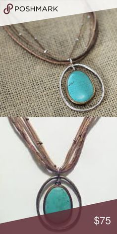 Silpada Necklace Turquoise, Sterling Silver & Bronze Pendant on multi-strand cord with Sterling Silver Beads. Silpada Jewelry Necklaces