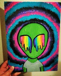 Trippy alien painting alien painting, trippy painting, hippie painting, back painting, easy Hippie Drawing, Hippie Painting, Hippie Art, Simple Canvas Paintings, Small Canvas Art, Mini Canvas Art, Easy Canvas Painting, Pintura Hippie, Alien Painting