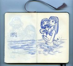Summer beach moleskine sketches by Claudio Cerri, via Behance