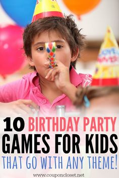 10 Birthday Party Games for Kids that will go with any theme! is part of - Here are 10 different Birthday Party Games for Kids that you can easily adjust to go with any theme you are doing Boys or girls, these games are perfect for any party! Easy Kids Party Games, Kids Party Games Indoor, Birthday Party Games Indoor, Birthday Party Games For Kids, 10th Birthday Parties, 10 Birthday, Birthday Ideas, Kid Games, Sleepover Games