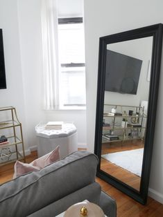The One Crucial Place You're Not Utilizing for Storage - City Chic Decor - Before/ After: Chic Meets Glam Inside a NYC Studio Apartment – City Chic Decor - Studio Apartment Decorating, Rental Decorating, Apartment Ideas, Decorating Ideas, Apartment Living, Apartment Goals, Living Rooms, Decorate Apartment, Seaside Apartment