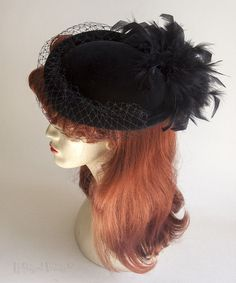 Vintage Retro 1970s/80s Black Velvet Pill Box Hat - Feathers & Veil FREE UK P&P in Clothes, Shoes & Accessories, Vintage Clothing & Accessories, Vintage Accessories | eBay