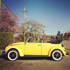 bright yellow convertible slugbug, Volkswagen Beetle