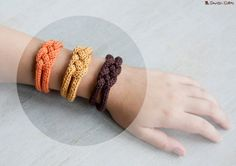 French knitted cotton bracelet  Pumpkin by LaMauvaiseGraine, €8.80