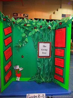 """Have a reading fair. This example shows a student's reading fair project for the book """"The Giving Tree"""" written by Shel Silverstein. Looking for fun book report ideas? Check out this page on Unique Teaching Resources: www. Book Report Projects, Reading Projects, Book Projects, School Projects, Science Fair Projects Boards, Science Fair Board, Easy Science, Life Science, Reading Fair"""