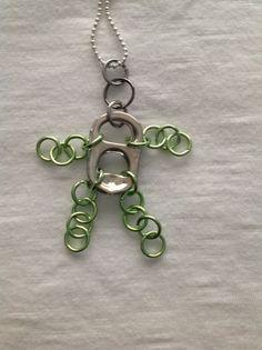 Pull Tab Man Necklace-Light Green. $14.00, via Etsy....so cute!