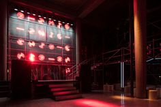 AMO uses scaffolding to build miu miu club inside parisian government office Prada und OMA veranstalten in den CESE-Regierungsbüros in. Miu Miu, Night Club, Night Life, Temporary Structures, Concert Fashion, Corporate Fashion, Architecture Wallpaper, Wallpaper Magazine, Shop Interiors