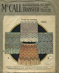 """Vintage Sewing Pattern for Smocking   McCall 1691   Year 193?   Kaumagraph Transfer for smocking in 4""""and 5¼"""" widths"""