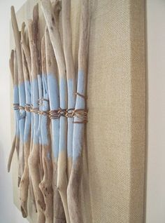 This is a cool wall art piece. Twigs 'n twine on canvas. - Angela Rehm - This is a cool wall art piece. Twigs 'n twine on canvas. Painted Driftwood, Driftwood Wall Art, Driftwood Projects, Driftwood Ideas, Cool Wall Art, Diy Wall Art, Twig Art, Stick Art, Painted Sticks