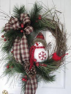 Rustic Christmas Wreath Ideas On A Budget; wreaths Rustic Christmas Wreath Ideas On A Budget Christmas Wreaths To Make, Holiday Wreaths, Rustic Christmas, Winter Christmas, Christmas Crafts, Winter Wreaths, Christmas Snowman, Christmas 2019, Artificial Christmas Wreaths