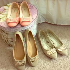 3 pairs of super cute flats 2 are size 9, the nude bow pair is an 8.5. The nude bow pair has never been worn, the peach pair has been worn twice and the rhinestone nude ones worn a few times;) Shoes Flats & Loafers