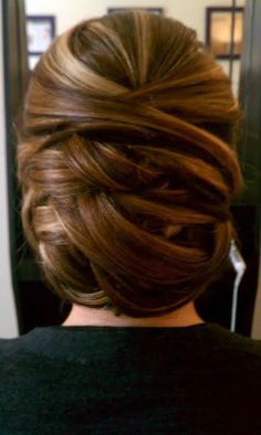 No curls...just weaved in and out bun...I wish my hair would actually look like this lol