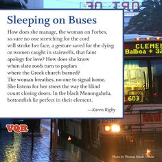 """Sleeping on Buses"" by Karen Rigby #poem #poetry"