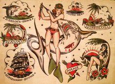 "Old school tattoo ""flash"" by Sailor Jerry, Hawaii Museum of Art by Kismet II… Mucha Tattoo, Hawaiianisches Tattoo, Tattoo Blog, Flash Art Tattoos, Sailor Jerry Flash, Desenhos Old School, Vintage Tattoo Art, Sailor Jerry Tattoos, Shark Tattoos"