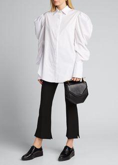 Prabal Gurung Poplin Pearl Pearl-button Shirt In White Prabal Gurung, Poplin, World Of Fashion, Cotton Spandex, Luxury Fashion, Normcore, Clothes For Women, Coat, Sleeves
