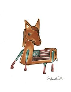Stars and Stripes American Flag Horse Art SALE on Etsy, $10.00