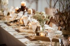 Barn wedding table decor