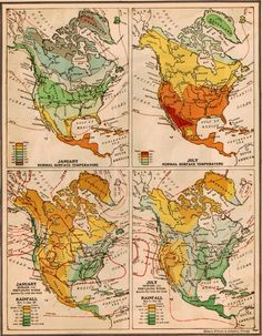 Vintage 1940s North America Temperatures and Rainfall Map. $9