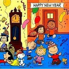 happy new year snoopy woodstock and the entire peanuts gang celebrating at a